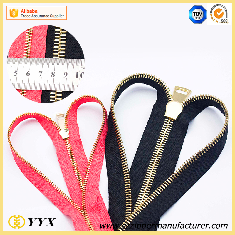 high polished gold metal zipper roll