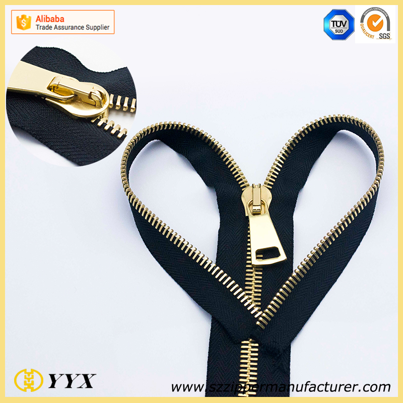 #8 Highly Polished Gold Metal Zipper with Regular Teeth
