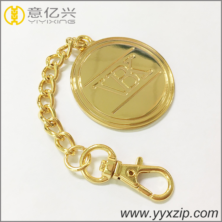 Polished gold metal letter label key ring brand logo engraved name keychains