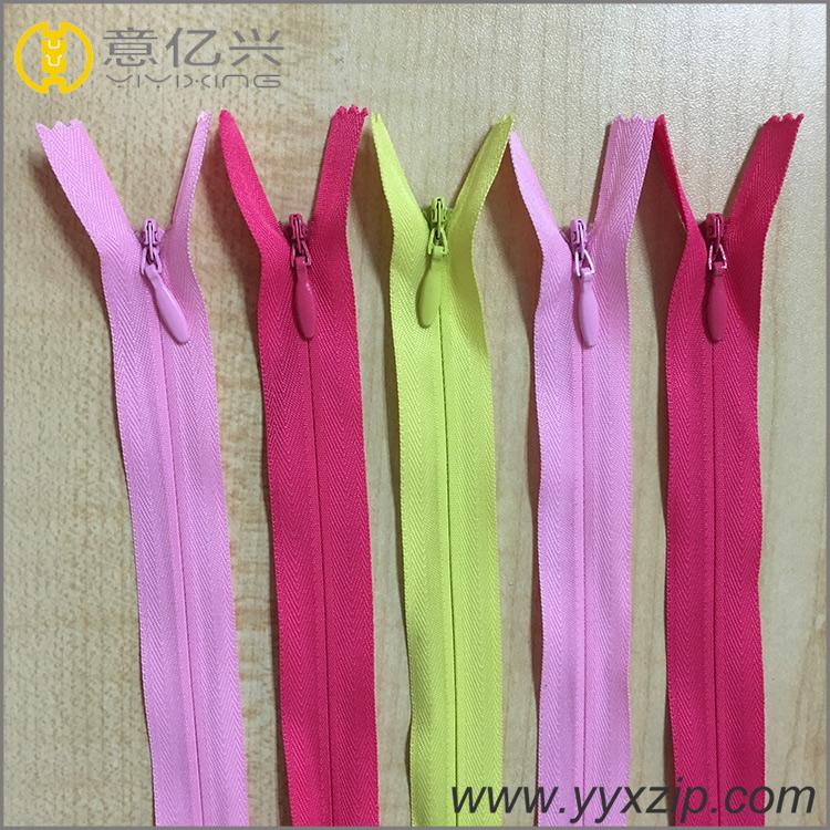 Pink color close end zipper invisible type copper head zipper plastic nylon mate