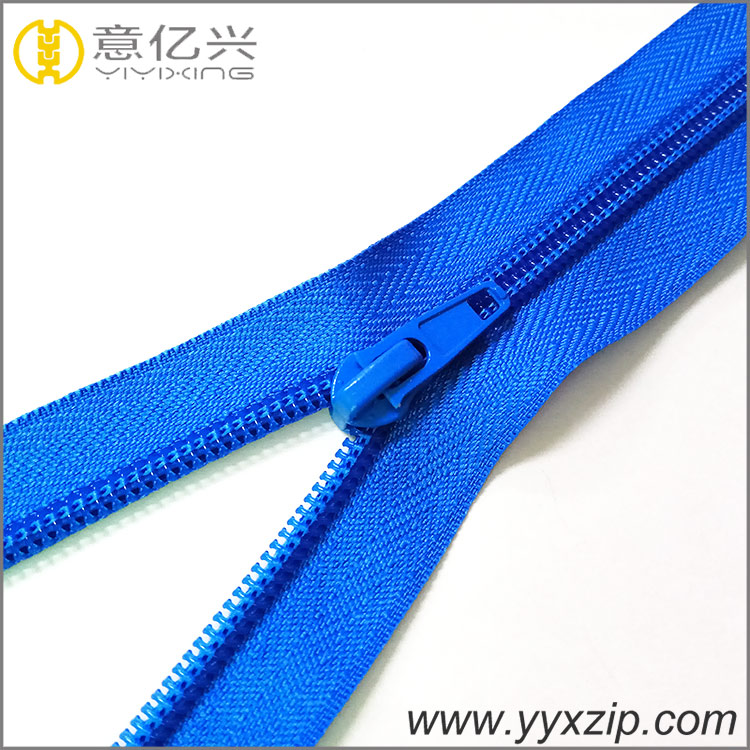 running smoothly nylon coil zipper light blue zipper with aotu lock slider