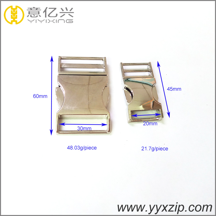 custom side zinc alloy release buckle 30mm 20mm metal handbag hardware insert bu
