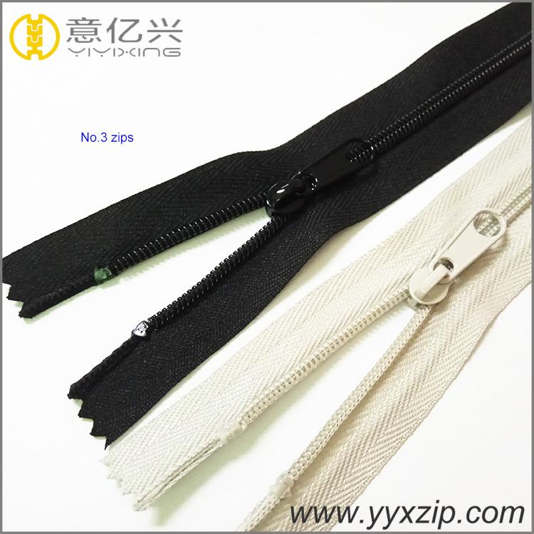Plastic nylon zipper for pants, long chain nylon zipper for sofa made in Shenzhe