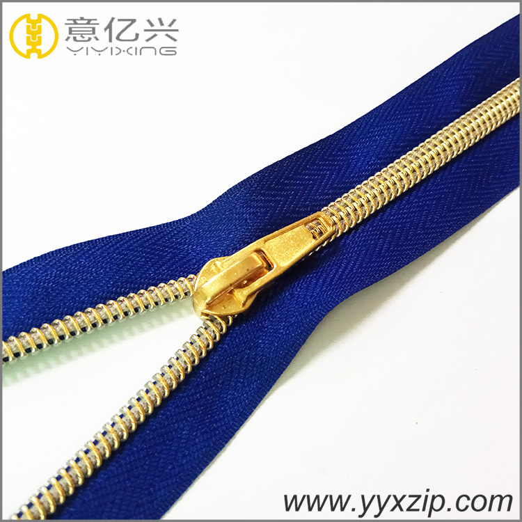 Custom bag parts gold nylon zipper,#5 non-ferrous drawstring bag with zipper