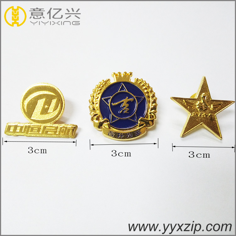 custom gold hard enamel round shape lapel pins metal pin badge