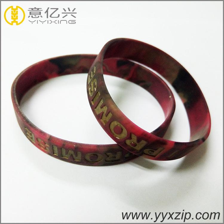 Fashional Style Logo Printed Epoxy Colors Mixed Silicone Bracelet