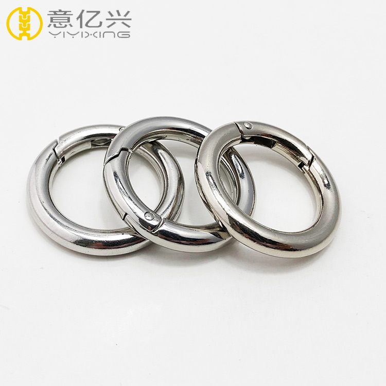 Plated shiny silver metal snap clip trigger spring o ring keyring buckle bag acc