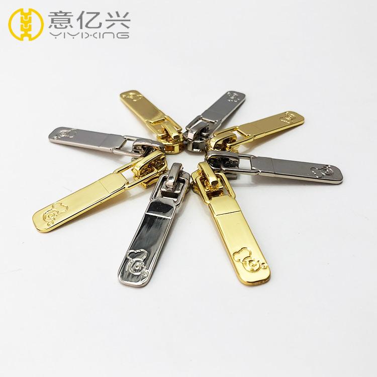 High quality silver metal zipper slider/ custom design gold zipper puller/ zippe