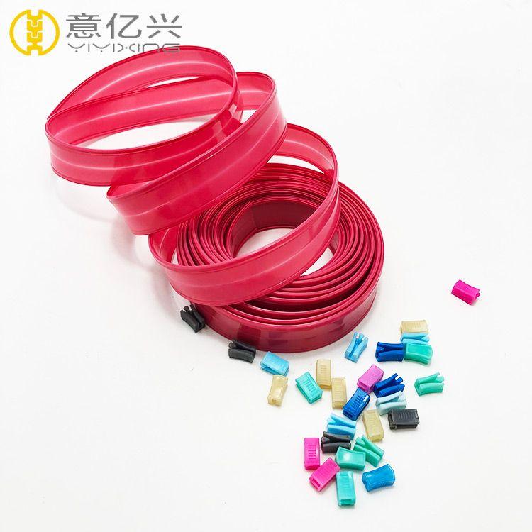 Light red 2.8cm zip lock pvc material pvc plastic zipper for pouch