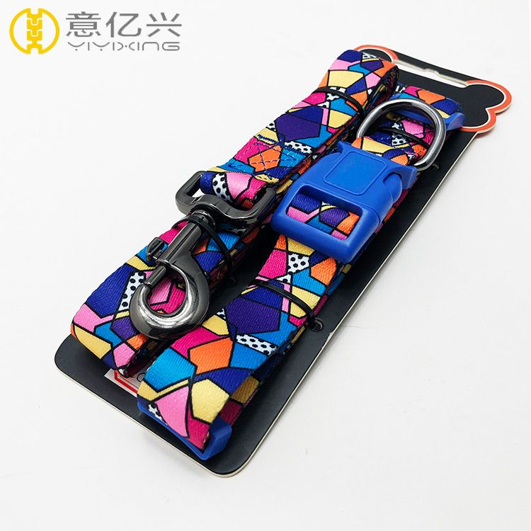 Printed polyester custom dog rope leash and matching dog collar and leash