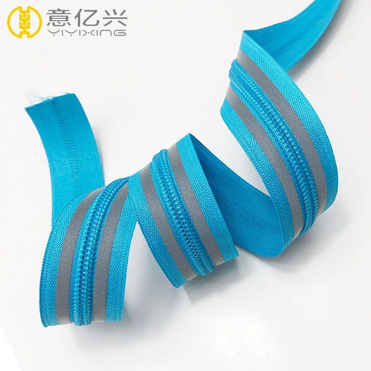 5# customized nylon teeth reflective zipper for cloth